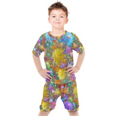 Apo Flower Power Kids  Tee And Shorts Set by WolfepawFractals