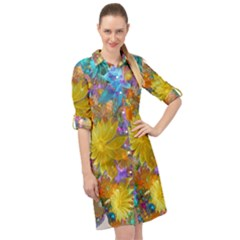 Apo Flower Power Long Sleeve Mini Shirt Dress by WolfepawFractals