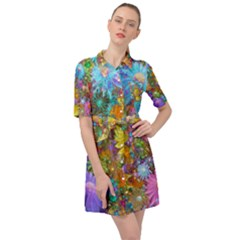 Apo Flower Power Belted Shirt Dress by WolfepawFractals