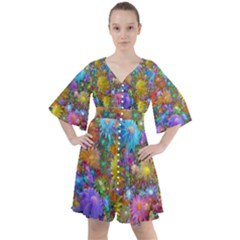 Apo Flower Power Boho Button Up Dress by WolfepawFractals