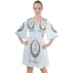 Jk Logo Boho Button Up Dress