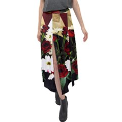 Roses 1 2 Velour Split Maxi Skirt by bestdesignintheworld