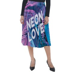 Neon Love Back Neon Love Front Classic Velour Midi Skirt  by Lovemore