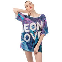 Neon Love Back Neon Love Front Oversized Chiffon Top