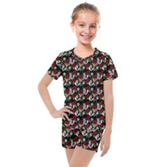 Vintage Hippie Girl Pattern Black Kids  Mesh Tee And Shorts Set