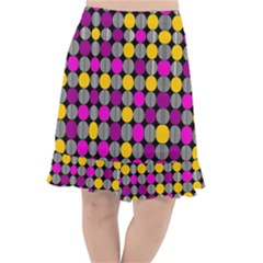 Polka Dots Two Times 4 Black Fishtail Chiffon Skirt