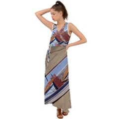 Balboa 1 2 V Neck Chiffon Maxi Dress