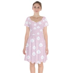 Kawaii Cloud Pattern Short Sleeve Bardot Dress