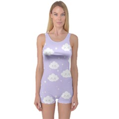 Kawaii Cloud Pattern One Piece Boyleg Swimsuit