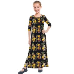 Aztec 9 Kids  Quarter Sleeve Maxi Dress by ArtworkByPatrick