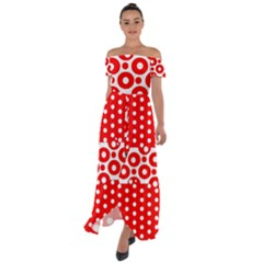 Polka Dots Two Times 10 Off Shoulder Open Front Chiffon Dress by impacteesstreetwearten