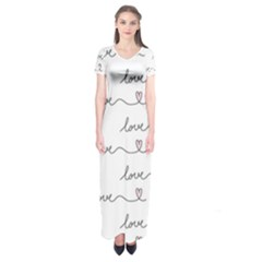 Pattern With Love Words Short Sleeve Maxi Dress