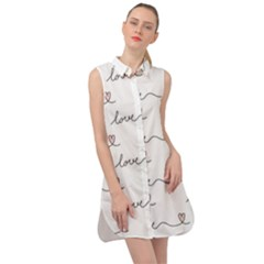 Pattern With Love Words Sleeveless Shirt Dress