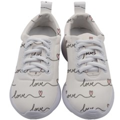 Pattern With Love Words Kids Athletic Shoes by Vaneshart