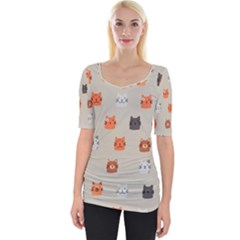Cat Faces Pattern Wide Neckline Tee by Vaneshart