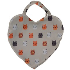 Cat Faces Pattern Giant Heart Shaped Tote