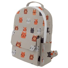 Cat Faces Pattern Flap Pocket Backpack (small)