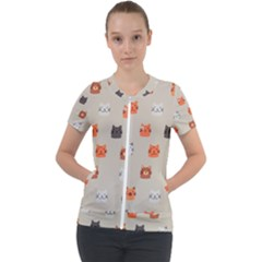 Cat Faces Pattern Short Sleeve Zip Up Jacket