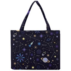 Starry Night  Space Constellations  Stars  Galaxy  Universe Graphic  Illustration Mini Tote Bag