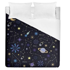 Starry Night  Space Constellations  Stars  Galaxy  Universe Graphic  Illustration Duvet Cover (queen Size)