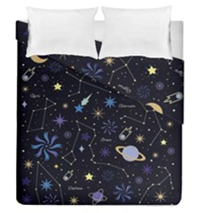 Starry Night  Space Constellations  Stars  Galaxy  Universe Graphic  Illustration Duvet Cover Double Side (queen Size)