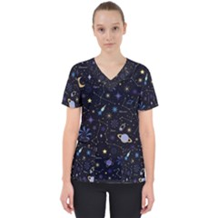 Starry Night  Space Constellations  Stars  Galaxy  Universe Graphic  Illustration Women s V Neck Scrub Top