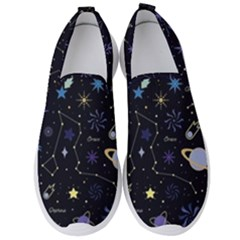 Starry Night  Space Constellations  Stars  Galaxy  Universe Graphic  Illustration Men s Slip On Sneakers by Vaneshart