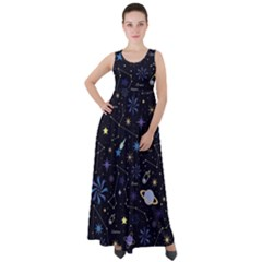 Starry Night  Space Constellations  Stars  Galaxy  Universe Graphic  Illustration Empire Waist Velour Maxi Dress