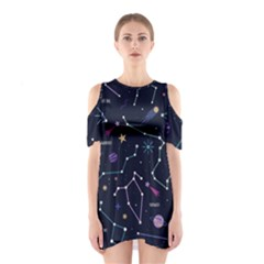 Space Wallpapers Shoulder Cutout One Piece Dress