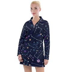 Space Wallpapers Women s Long Sleeve Casual Dress