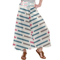 Long Lines Vector Pattern Satin Palazzo Pants