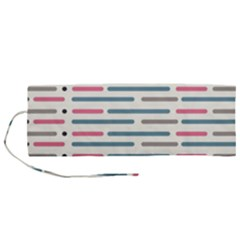 Long Lines Vector Pattern Roll Up Canvas Pencil Holder (m)