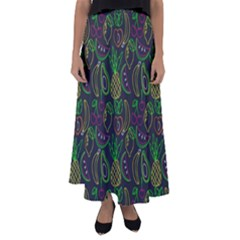Neon Fruit Seamless Pattern Flared Maxi Skirt