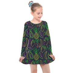 Neon Fruit Seamless Pattern Kids  Long Sleeve Dress