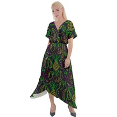 Neon Fruit Seamless Pattern Cross Front Sharkbite Hem Maxi Dress