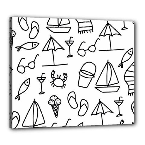 Black And White Summer Vector Pattern Canvas 24  X 20  (stretched)