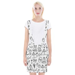 Black And White Summer Vector Pattern Braces Suspender Skirt