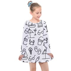 Black And White Summer Vector Pattern Kids  Long Sleeve Dress