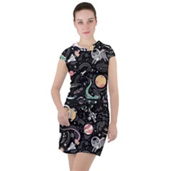 Animals Galaxy Space Drawstring Hooded Dress by Vaneshart