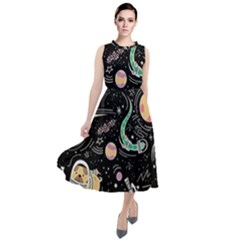 Animals Galaxy Space Round Neck Boho Dress