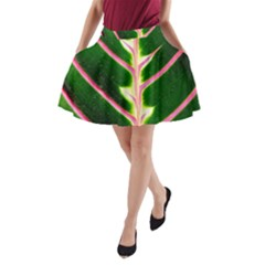Exotic Green Leaf A Line Pocket Skirt