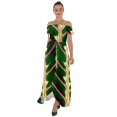 Exotic Green Leaf Off Shoulder Open Front Chiffon Dress by Vaneshart