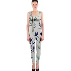 Dark Tone Plant Pattern One Piece Catsuit