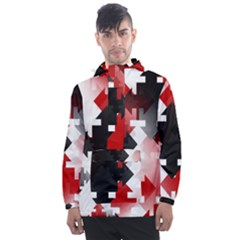 Black And Red Multi Direction Men s Front Pocket Pullover Windbreaker by Vaneshart