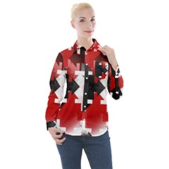 Black And Red Multi Direction Women s Long Sleeve Pocket Shirt