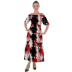 Black And Red Multi Direction Shoulder Straps Boho Maxi Dress