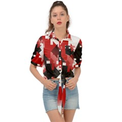 Black And Red Multi Direction Tie Front Shirt