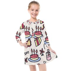 Kids Birthday Kids  Quarter Sleeve Shirt Dress by Vaneshart