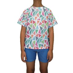 Colorful Triangle Vector Pattern Kids  Short Sleeve Swimwear by Vaneshart