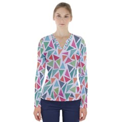 Colorful Triangle Vector Pattern V Neck Long Sleeve Top